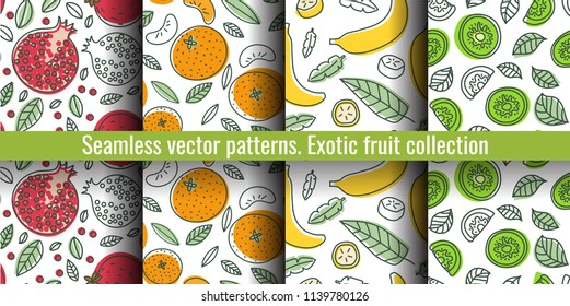 Seamless pattern set. Fruit collection. Mandarin, kiwi, garnet, banana, pomegranate, tangerine. Hand drawn color vector sketch background. Colorful doodle wallpaper. Summer print