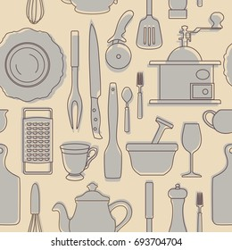 Seamless pattern set hand drawn cookware:coffegrinder, grater, knife, spoon, plate, cup, brewer. Be used for textile, book cover packaging website background labels