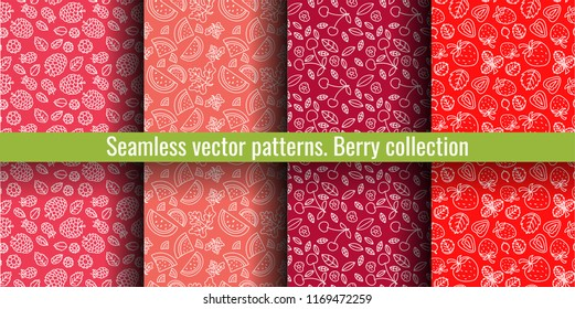 Seamless pattern set. Juicy berry collection. Cherry, strawberry, raspberry, watermelon. Hand drawn color vector sketch background. Colorful doodle wallpaper. Summer print