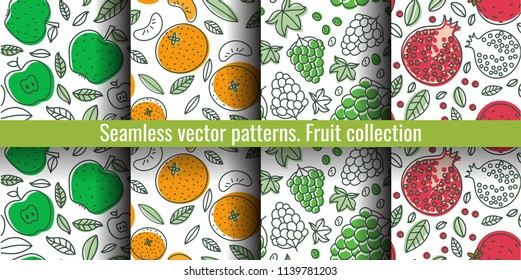 Seamless pattern set. Juicy fruit and berry collection. Grape, apple, garnet, mandarin, pomegranate, tangerine. Hand drawn color vector sketch background. Colorful doodle wallpaper. Summer print