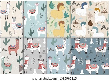 Seamless pattern set with llama and cactus. vector illustration for fabric, textile,wallpaper.