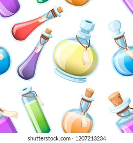 Seamless pattern. Set of magic potions. Bottles with colorful liquid. Game icon of magic elixir. Purple potion flat icon. Mana, health, poison or magic elixir. Vector illustration on white background.