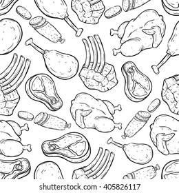 Seamless Pattern Set of Meat With Doodle or Hand Drawing Style