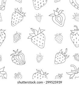 Seamless pattern Set of monochrome strawberries background. Hand drawn sketch. vector