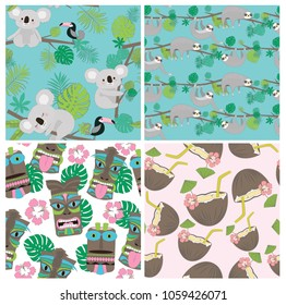Seamless pattern set with sloth and koala and tropical plant. Editable vector illustration