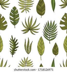 Seamless pattern set tropical or forest leaves with many shades of green, oval or ovoid type with cuts. Sketch inscription topical. Isolated on a white background