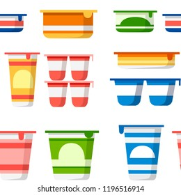 Seamless pattern. Set of yogurt containers. Colored template packaging for yogurt and mousse. Plastic pot. Flat vector illustration on white background.