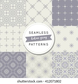 Seamless pattern sets: lilac gray. Trendy textiles, fashion. Geometric and floral vector abstract backgrounds, thin lines