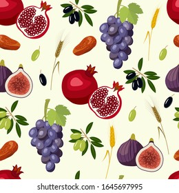 seamless pattern with seven species of Israel: wheat, barley, pomegranate, grapes, figs, olives, dates.