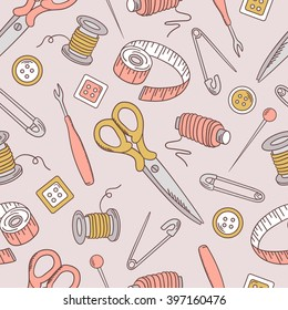 Seamless pattern with sewing tools, hand drawn icons. Colorful background vector. Fashion illustration with sketch objects set, profession clothier. Decorative wallpaper, good for printing