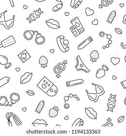 Seamless pattern with sex shop. Black and white thin line icons