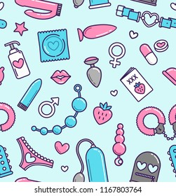 Seamless pattern of sex toys items and intimate symbols -  Adult store vector background. Sex shop flat line icons blue and pink colours