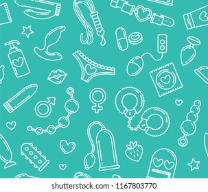 Seamless pattern of sex toys items and intimate objects - Adult store vector background. Sex shop linear icons on blue background