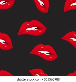 Seamless pattern of sexy lips. Modern design. Vector illustration. EPS10.