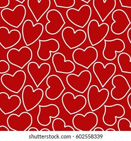Seamless pattern with shaded white outlines of hearts of different form on a red background. Vector eps 10.