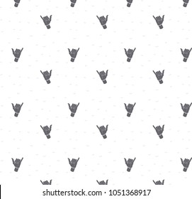 Seamless pattern with Shaka sign, vector