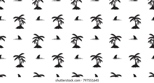 seamless pattern shark fin island Coconut tree palm vector isolated wallpaper background