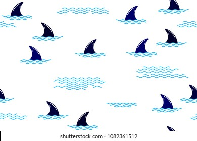 Seamless pattern with shark fin in ocean wave. Cute Marine pattern for fabric, baby clothes, background, textile,wrapping paper and other decoration.Vector illustration