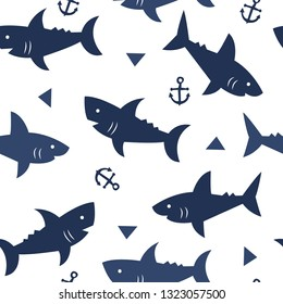 seamless pattern with shark vector illustration
