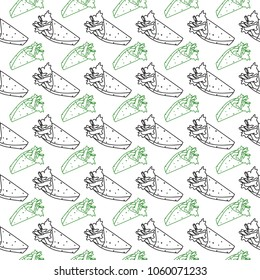 Seamless pattern with shaurma in minimalistic style. Idea for wrapping. Shawarma. Vector illustration