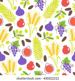 Seamless pattern with Shavuot seven species. Fig, pomegranate, wheat, barley, grapes, olive, date fruit. Perfect for wallpaper, food background and jewish holidays. Vector illustration