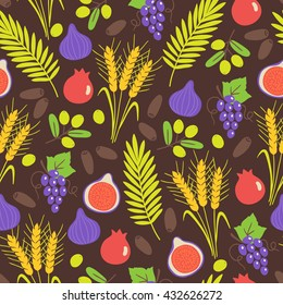 Seamless pattern with Shavuot seven species. Fig, barley, grapes, pomegranate, wheat, olive, date fruit. Perfect for wallpaper, food background and jewish holidays. Vector illustration
