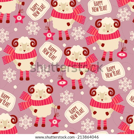 seamless pattern with sheep happy new year