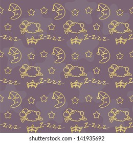 Seamless (pattern) with sheep, jump over a fence, moon and stars