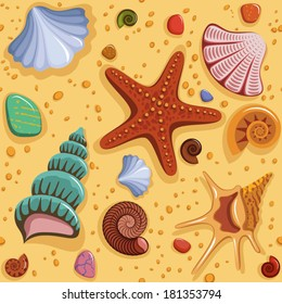 Seamless pattern with shells.