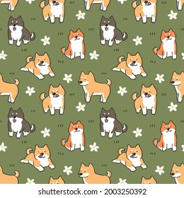 Seamless Pattern with Shiba Inu Dog and Flower Illustration Design on Green Background