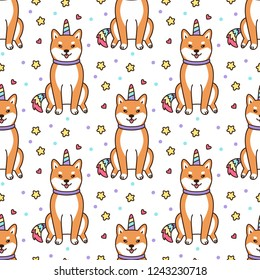 Seamless pattern with shiba inu in a unicorn costume with horn and colorful tail. Excellent print for children's clothes, bed linens, phone case, mug, wrapping paper, textile etc.