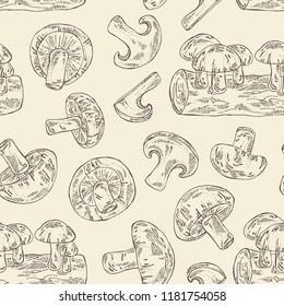 Seamless pattern with shiitake: mushroom and a bit of shiitake. Mushroom. Vector hand drawn illustration