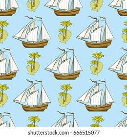Seamless pattern with ship, palms and island - adventure seamless texture. Vector illustration