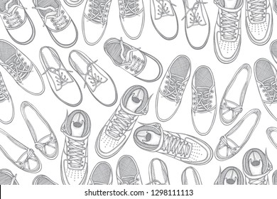 Seamless pattern with shoes. Hand drawn gumshoes