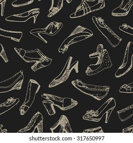 Seamless pattern of shoes set. Sketch, doodle graphic. Shopping illustration.