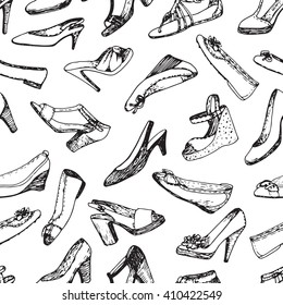 Seamless pattern of shoes. Sketch, doodle graphic. Shopping illustration.