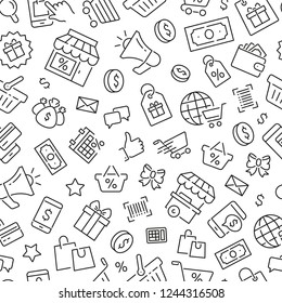 Seamless pattern with shopping. Black and white thin line icons