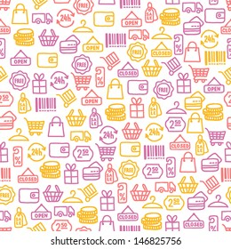 Seamless pattern with shopping elements