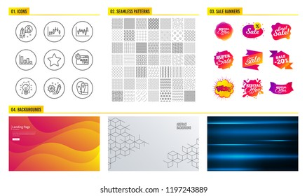 Seamless pattern. Shopping mall banners. Set of Quick tips, Star and Idea icons. Histogram, Engineering and Candlestick graph signs. Startup, Stock analysis and Face biometrics symbols. Vector