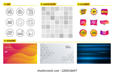 Seamless pattern. Shopping mall banners. Set of World statistics, Copyright laptop and Accounting icons. Head, Face id and Efficacy signs. Report, Methodology and Unlock system symbols. Pattern vector