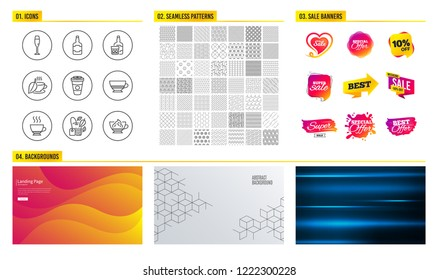 Seamless pattern. Shopping mall banners. Set of Whiskey bottle, Whiskey glass and Mint tea icons. Espresso, Champagne glass and Takeaway coffee signs. Vector