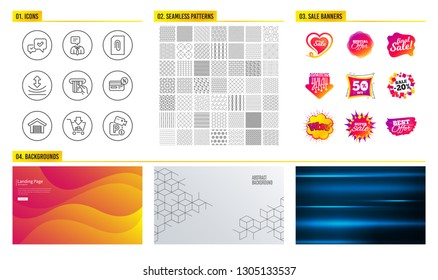 Seamless pattern. Shopping mall banners. Set of Approve, Cashback and Support service icons. Attachment, Credit card and Resilience signs. Shopping, Parking garage and Parking security symbols