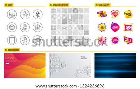 77c4783b27 Seamless pattern. Shopping mall banners. Set of Parcel tracking, Parking  and Shipping support icons. Lift, Bumper cars and Ship signs. Package  location ...