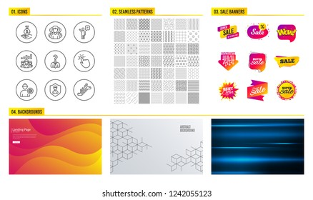 Seamless pattern. Shopping sale banners. Set of Engineer, Security agency and Group icons. Touchpoint, Income money and Agent signs. Teamwork results, Hiring employees and Escalator symbols. Vector