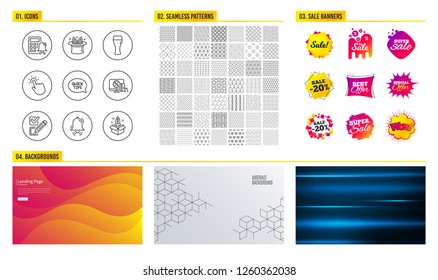 Seamless pattern. Shopping sale banners. Set of Hat-trick, Clock bell and Checkbox icons. Quickstart guide, Online shopping and Touchpoint signs. Beer glass, Calculator alarm and Startup symbols
