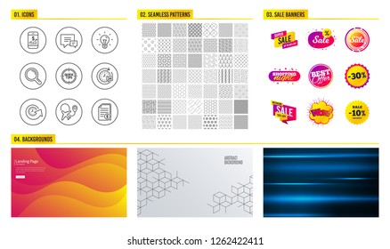Seamless pattern. Shopping sale banners. Set of Update time, Idea and Mobile finance icons. 24h delivery, Airplane and Tips signs. Comment, Research and Financial documents symbols. Vector
