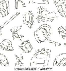 Seamless pattern  with shovel, apples, bucket, hoe, rake, tree, hat, gloves, watering can, pruner, potted plant, bag.