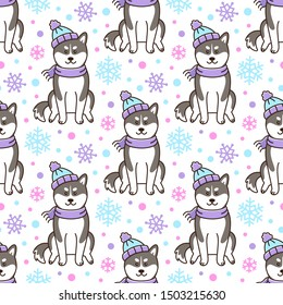 Seamless pattern with Siberian Husky dog in hat and scarf with snowflakes. Excellent design for packaging, wrapping paper, textile etc.