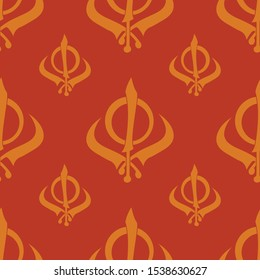 Seamless pattern with Sikh symbol Khanda