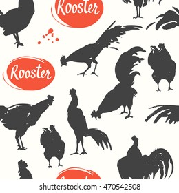 Seamless pattern with silhouette of cock in different poses.. Sketch style. Vector illustration with black and white roosters. Brush drawings.